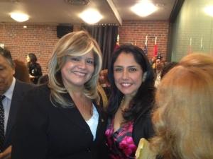 La Primera Dama del Perú, Nadine Heredia, junto a Melvi Dávila, presidenta de Perú Agribusiness Association Inc., durante un reciente encuentro en Nueva York.