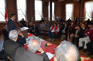 Santiago Gastañnadui Ramírez, Presidente de la Comisión de Constitución del Congreso de la República del Perú durante su intervención en el Museo de Paterson, el domingo 10 de febrero.