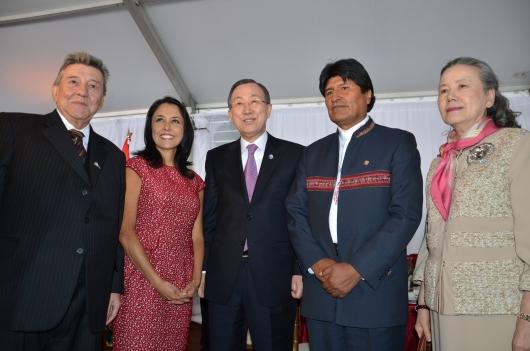 La Primera Dama del Perú, Nadine Heredia, y el presidente de Bolivia, Evo Morales, participaron en la inauguración oficial del Año Internacional de la Quinua.