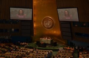 Nadine Heredia durante su exposición ante la Asamblea General de las Naciones Unidas.