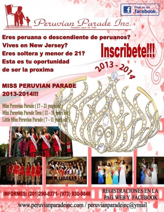 050613 AFICHE MISS PERUVIAN PARADE 2013