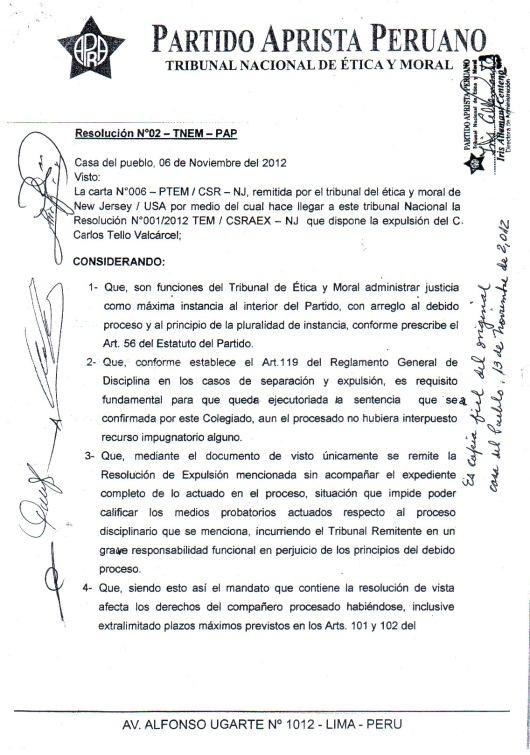 051513 PARTIDO APRISTA PERUANO 1