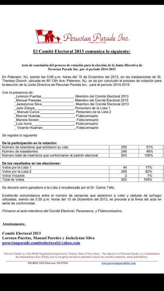 Acta de resultados emitido por el Comité Electoral de Peruvian Parade.