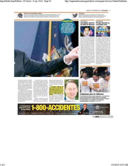 090214 PAGINA 3 EL DIARIO  CUBETAZO POR LA REFORMA