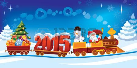 32570596-ano-nuevo-2015-y-santa-claus-en-un-tren-de-juguete-con-regalos-muneco-de-nieve-y-arboles-de-navidad