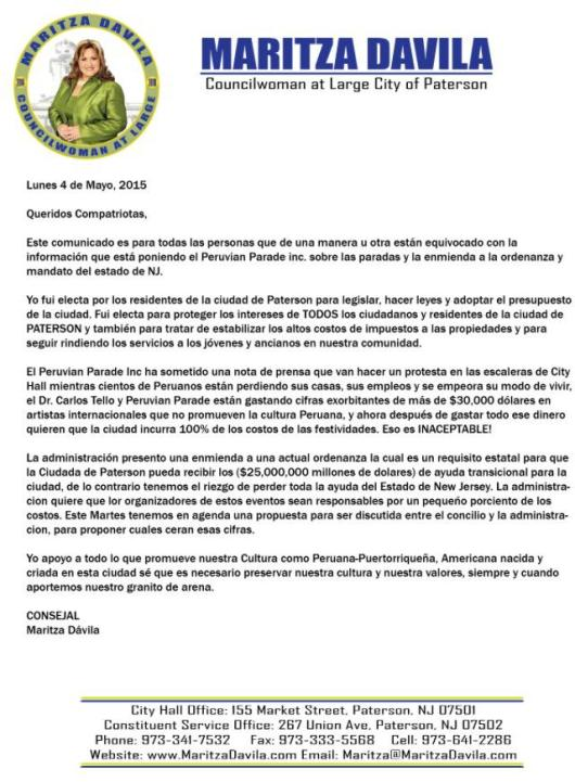 050415 MARITZA DAVILA COMUNICADO