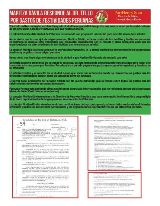 050415 MARITZA DAVILA RESPONDE A PERUVIAN PARADE