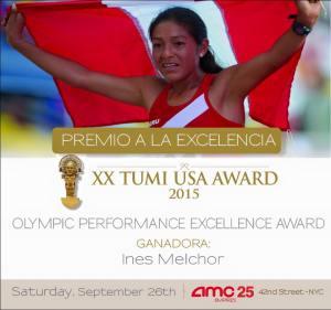 La galardonada atleta Ines Melchor recibio el premio Tumi USA Award 2015 por su Excelencia Olimpica.