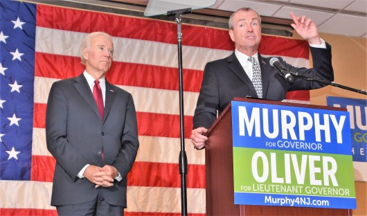 101817 Joe Biden and Phil Murphy, october, Edison, NJ